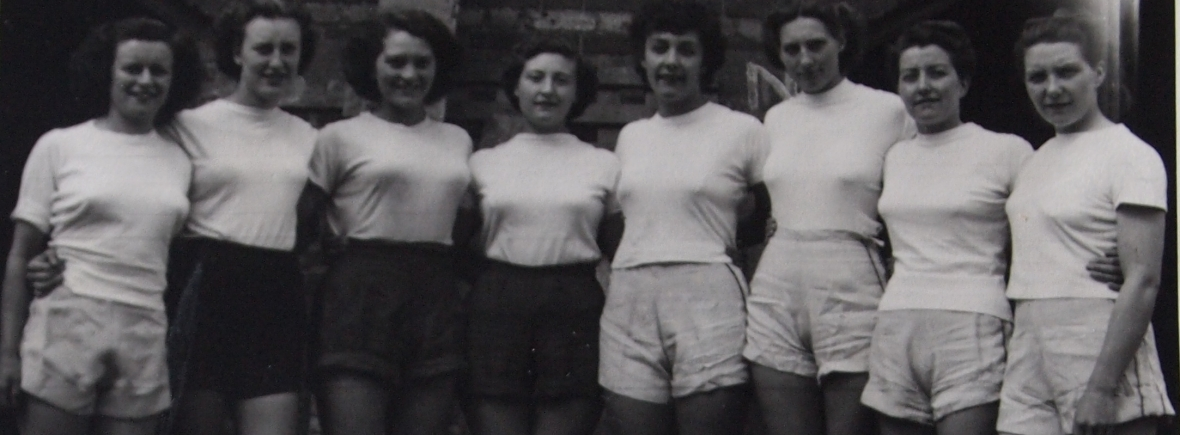 women's eight in white t-shirts