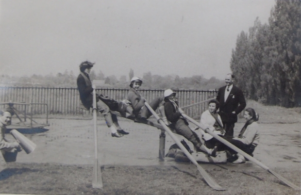Reading University WBC having fun after the UWRA IVs regatta in Southampton, 1955