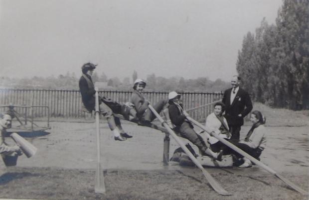 Reading University WBC having fun after the UWRA IVs regatta in Southampton, 1955