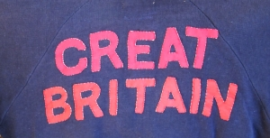 GREAT BRITAIN lettering on the back of a track suit