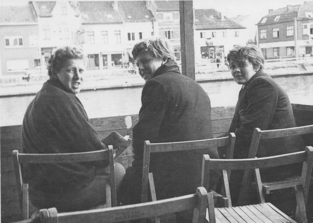 Penny, Viv and Zona in the stand at Ostend