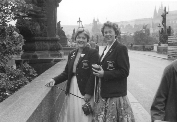 1961 Zona and Jill on Charles Bridge