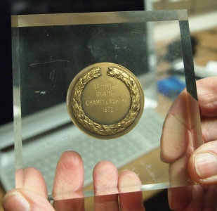 medal in perspex block 1972