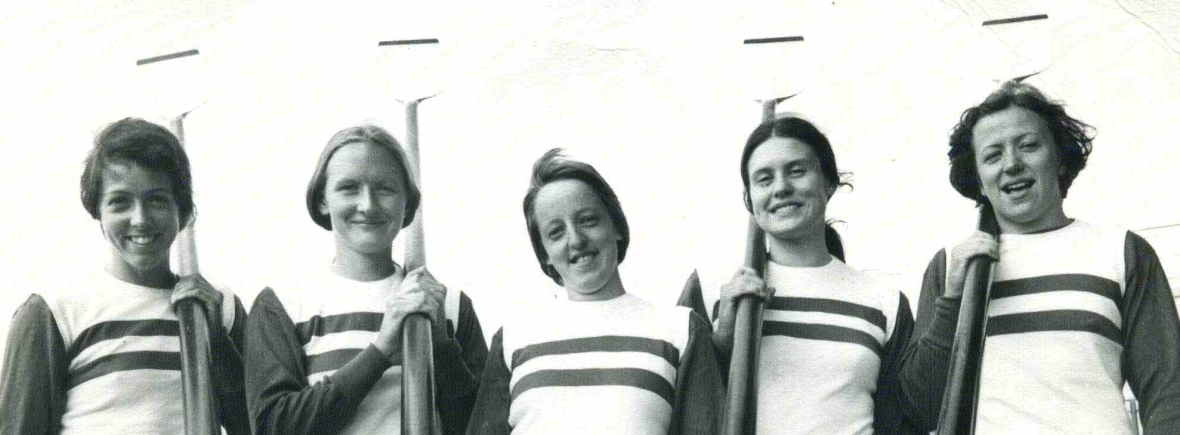 women's four in striped GB vests with blades