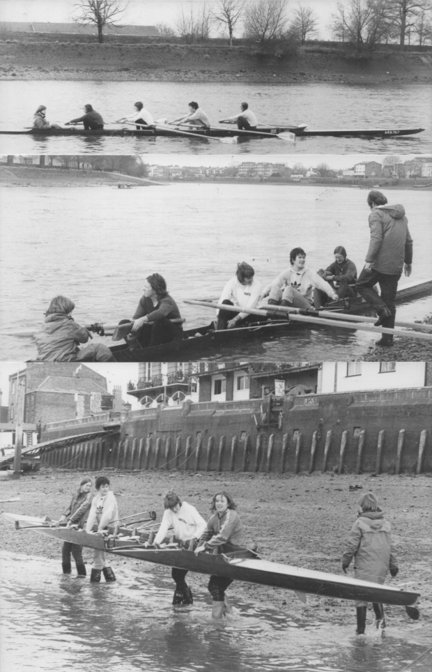 1978 coxed four in training