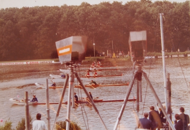 GB W2x at the start of the World Championships 1977
