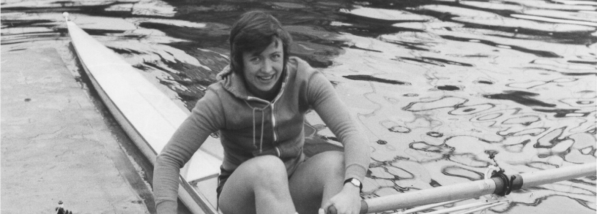 Gill Webb in sculling boat