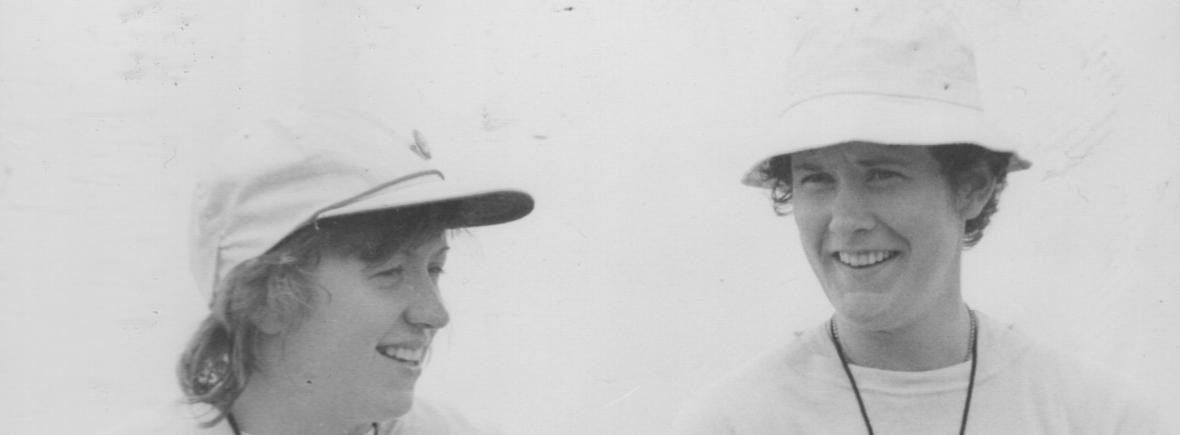 Gill Webb and Liz Paton at the National Championships in 1978