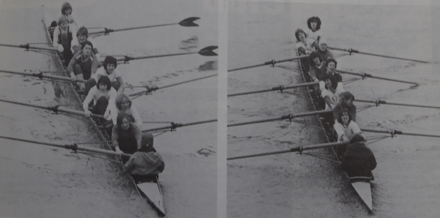 2 eights training at Walton in 1979
