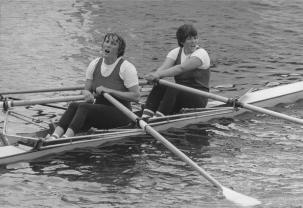 Astrid Ayling and Rosie Clugston in a double scull in 1982