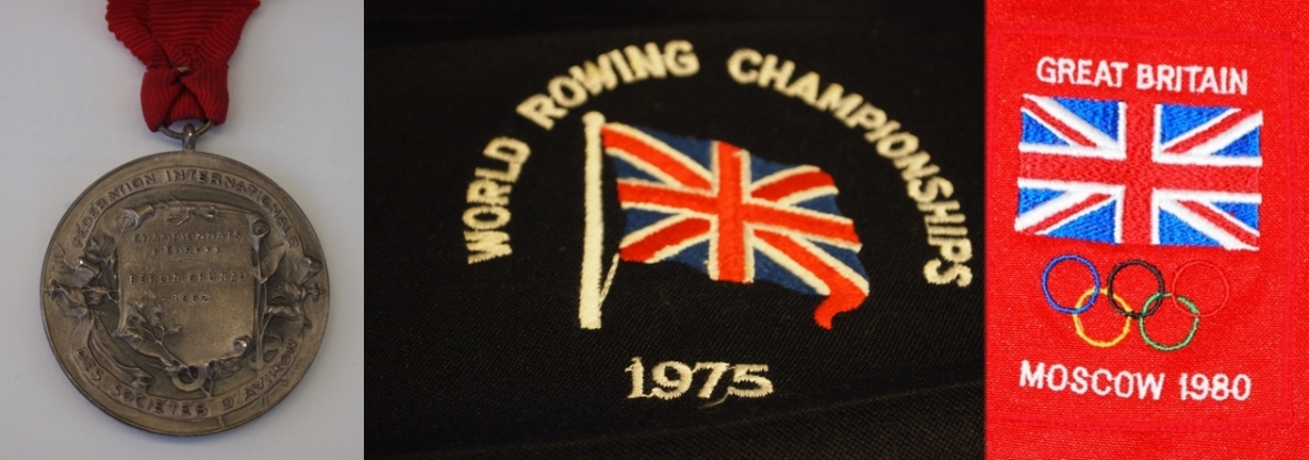 rowing badges and a medal