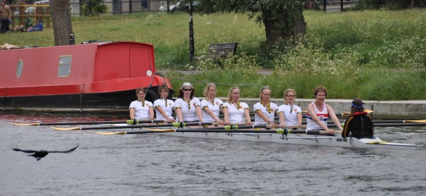Penny stroking Clare College eight