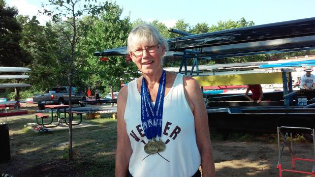 Helen McFie-Simone with rowing medals