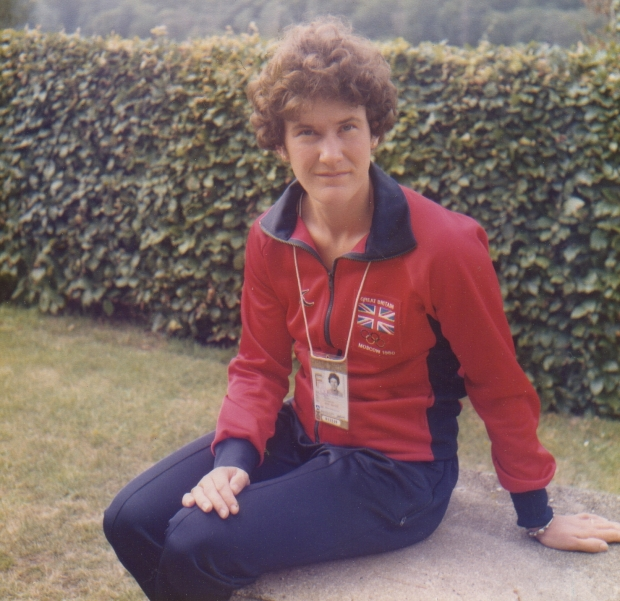Liz in Olympic tracksuit