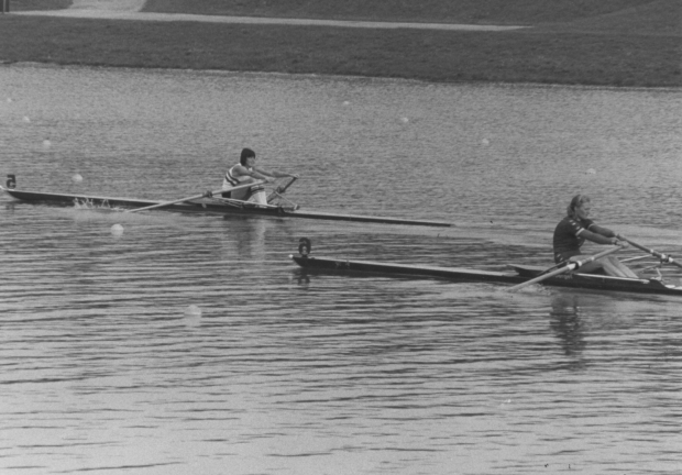 Beryl Mitchell ahead of a Swedish sculler in 1981