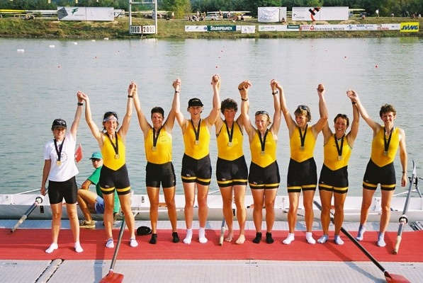 World Masters regatta eight getting medals