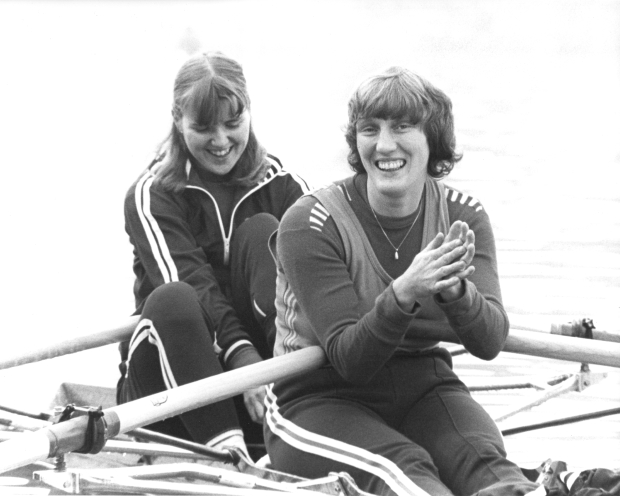 Sue and Astrid in a double scull