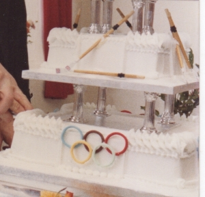 Wedding cake with Olympic rings