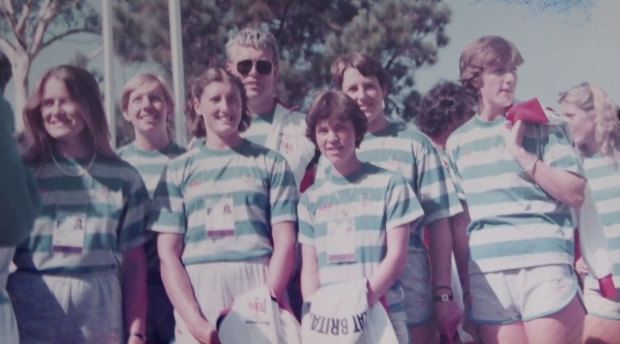 GB women in striped t-shirts
