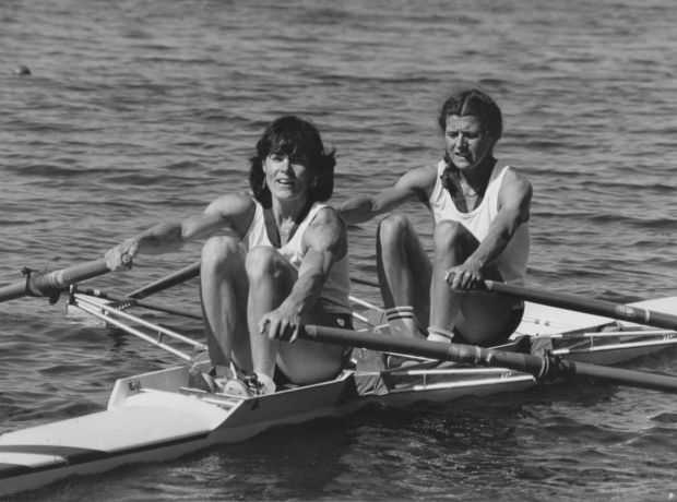 Beryl and Lin in double scull