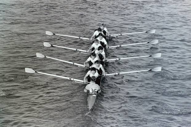 Women's eight with start No. 36 on cox's back