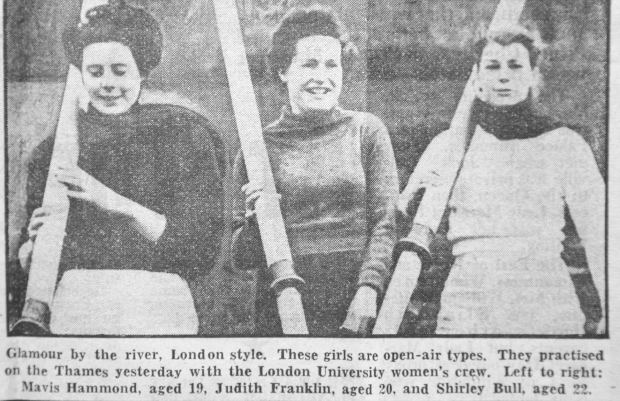 Newspaper clip of 3 women with oars captioned 'Glamour by the river'.