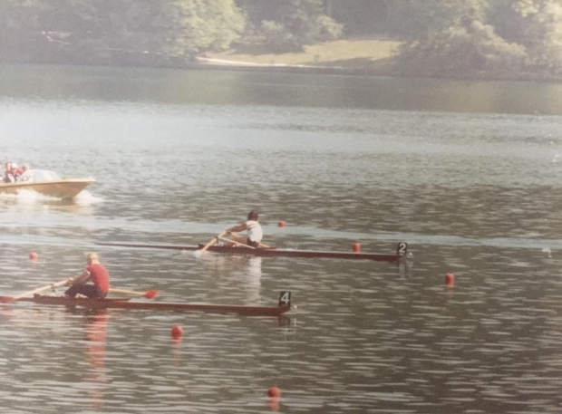 Two women scullers racing.