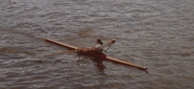 Carrie in wooden single scull