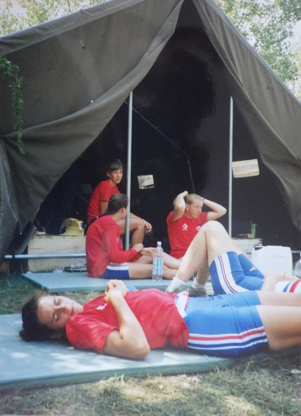 British rowers in tent