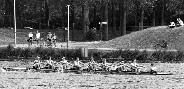 Women's eight racing on Bosbaan