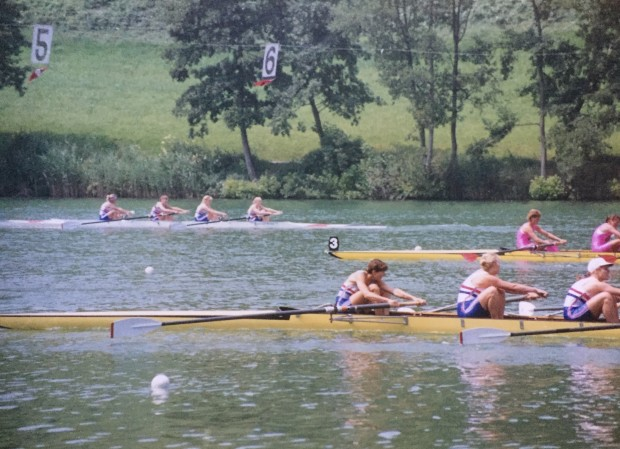 three women's fours racing