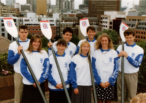 rowers looking smart on top of building in London