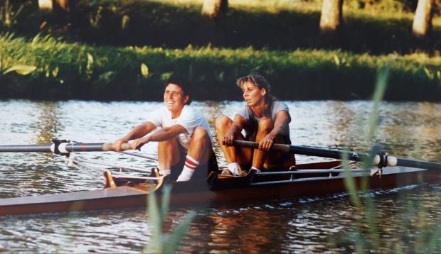 Women's rowing in wooden pair