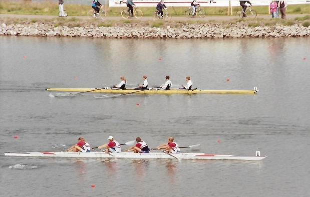 two women's fours racing