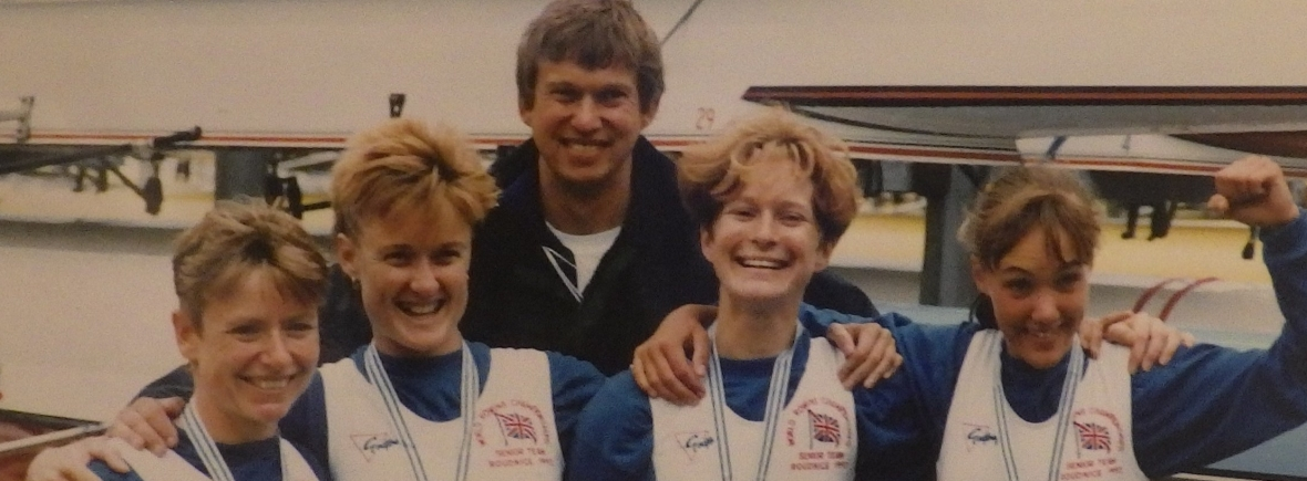 1993 GB women's lightweight four world champions with coach Bill Mason