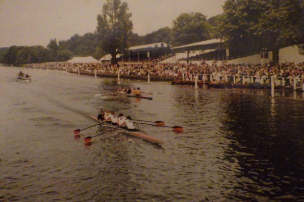 two women's fours racing at Henley Royal Regatta