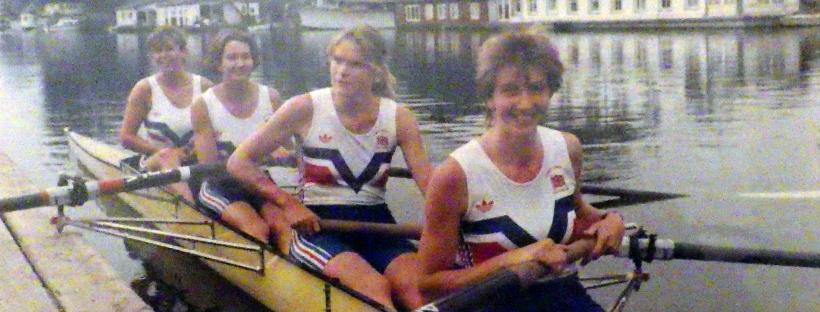 Four women in yellow boat