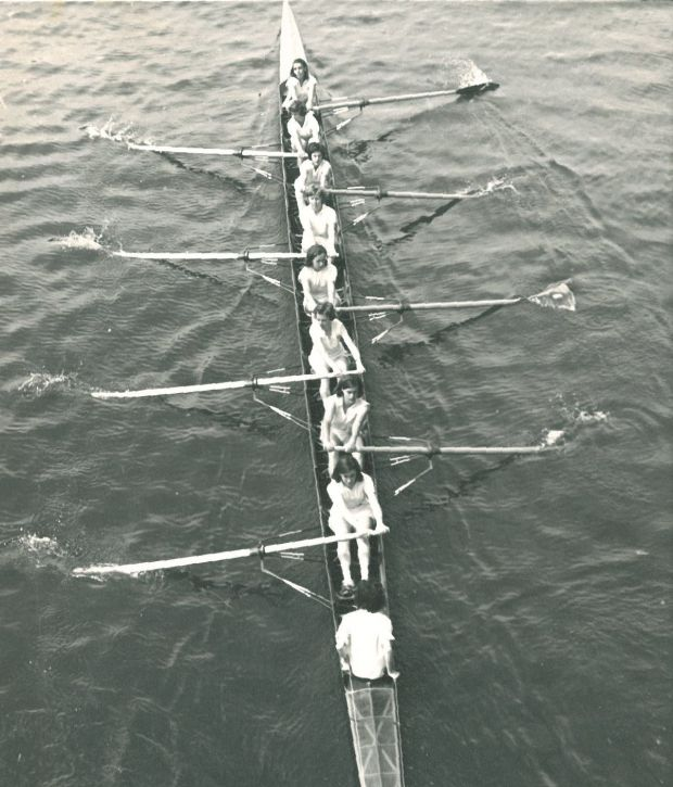 Blackand white overhead photo of women's eight