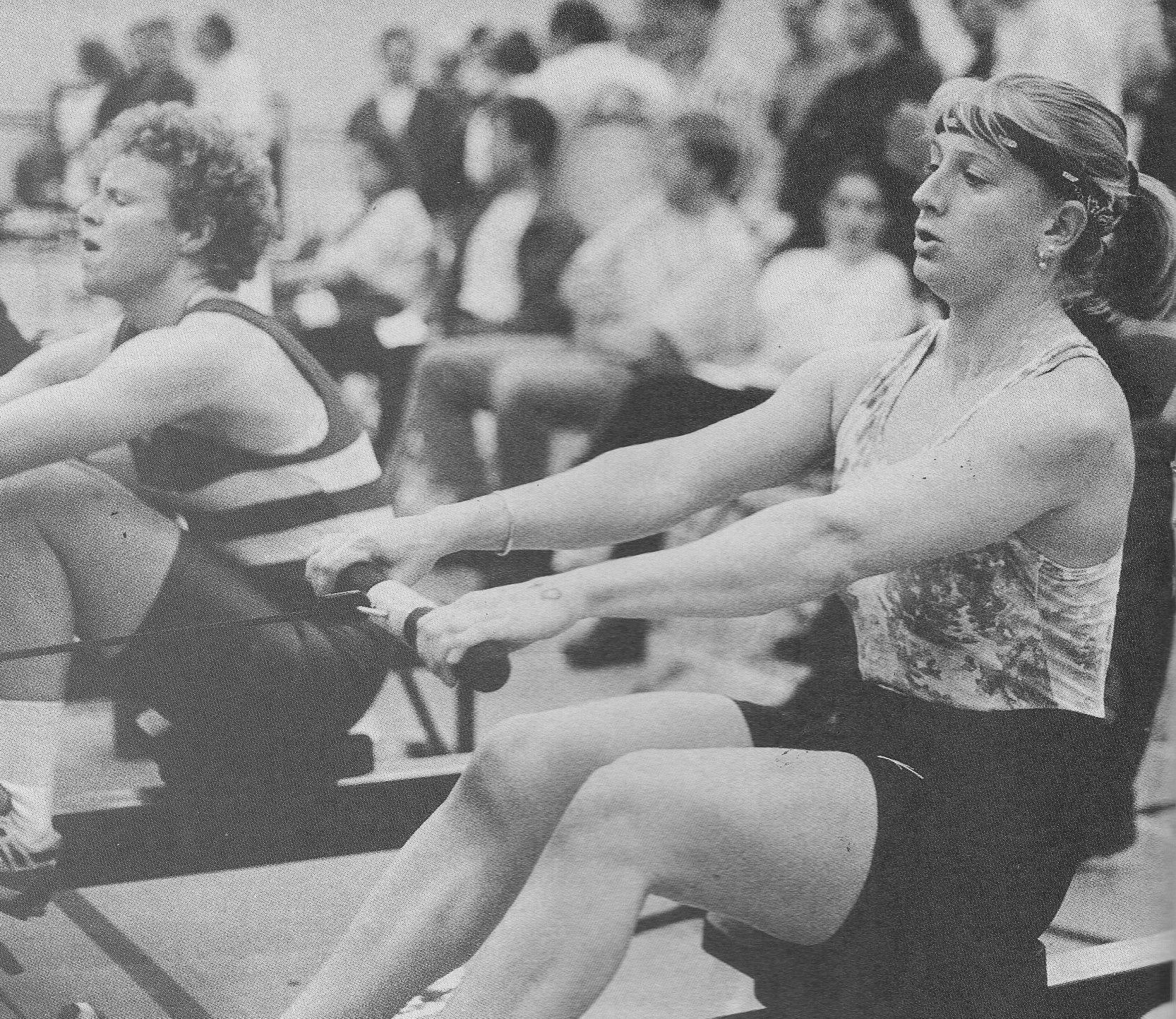 b/w photo of lightweight women on ergo