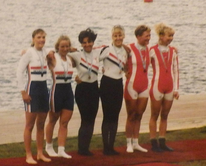 6 women on medal pontoon