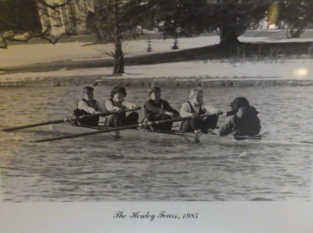 b/w photo of women's four with snow in background
