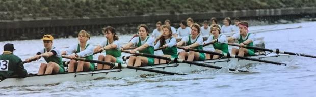 women's eight in green lycra