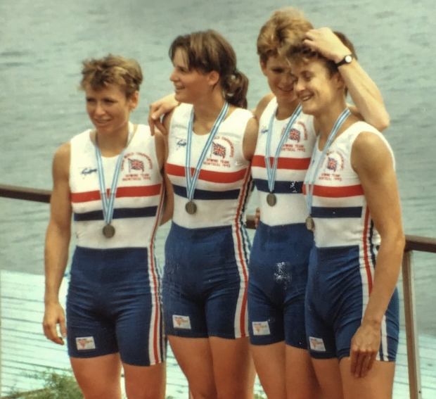 Four women with silver medals in GB kit