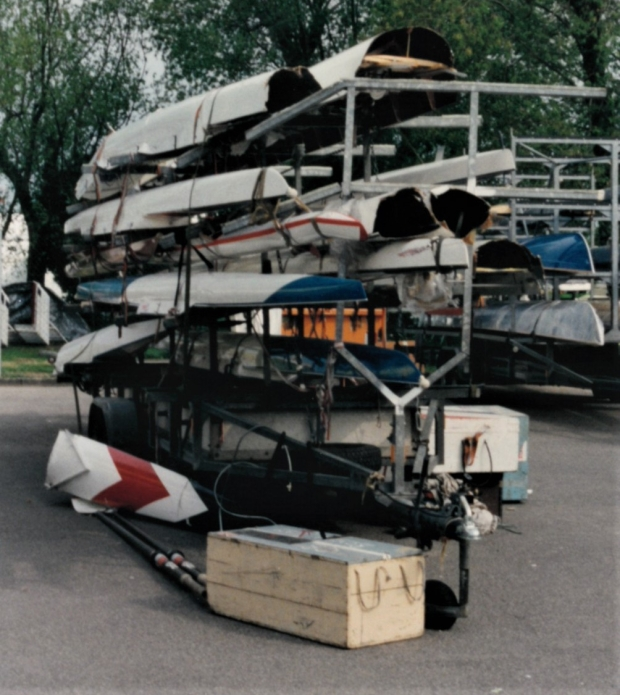 trashed boats on trailer