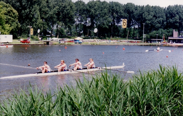 women's four crossing finish line