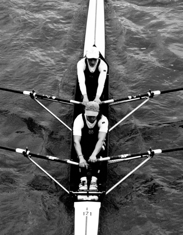 b/w photo of women's double