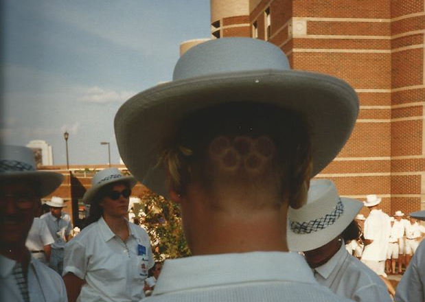Olympic rings cut into back of hair