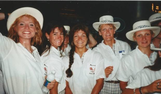 Women in white GB uniforms