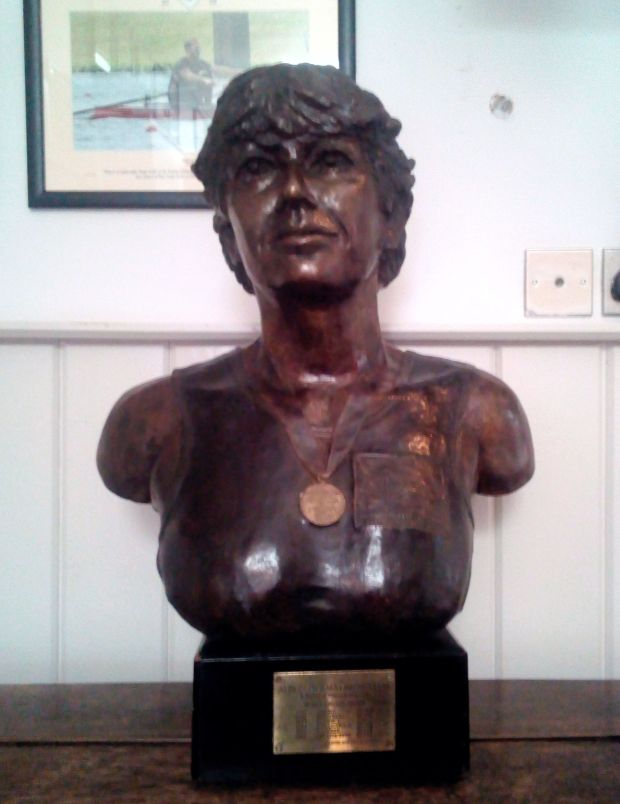 Bronze bust of woman