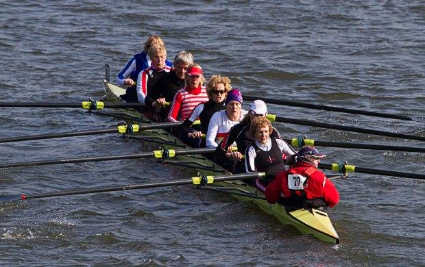 Women's eight in yellow boat